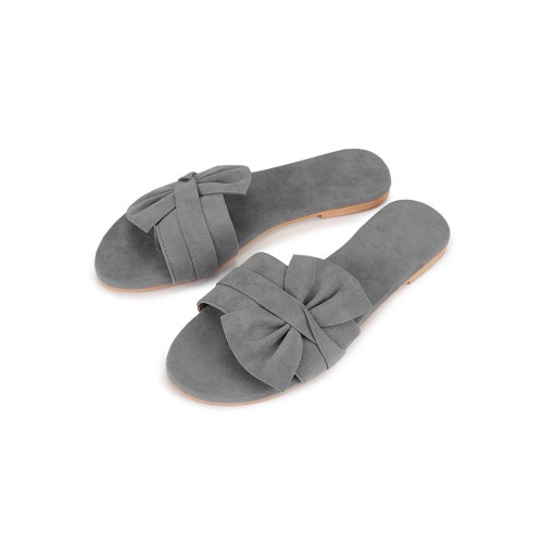 PKKART Grey Synthetic Mule Flats