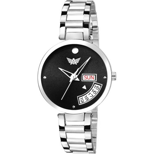 Abrexo Abx3011-BK BLACK DAIL DAY & DATE FUNCTIONING Watch - For Women