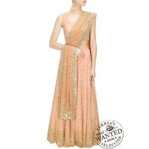 Peach shimmer lehenga set by Astha Narang