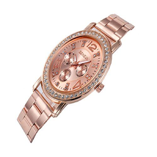 Geneva Platinum Analog Rose Gold Dial Women's Watch-GP-381
