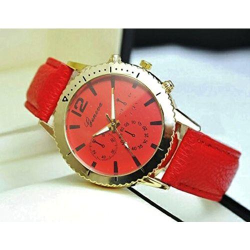 Geneva Platinum Geneva Analog Red Dial PU Leather Fashion Wrist Watch for Women and Girls