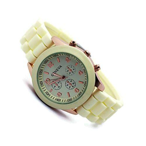 Geneva Platinum Silicone Quartz Analogue Off-White Dial Women's Watch