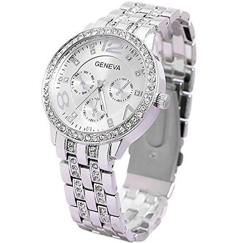 Geneva Platinum Analog Silver Dial Women's Watch-KFLKDNK