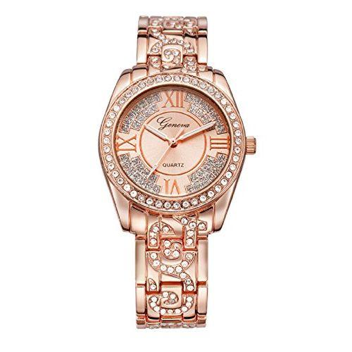 Geneva Platinum Analog Rose Gold Dial Women's Watch-GP-274