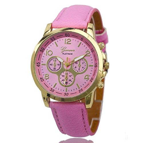 Geneva Platinum Analog Pink Dial Women's Watch - GP-202