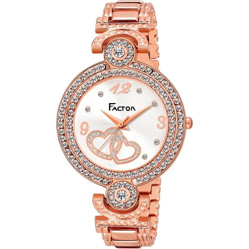 Factor FR-L124-RGWH-DIAMOND Miss Elegant Diamond Rose Gold Collection Watch - For Women