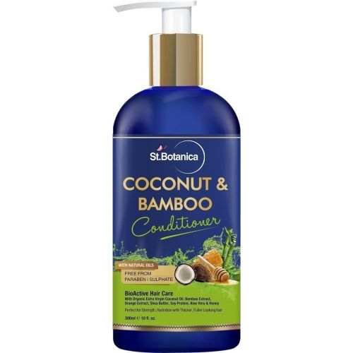 StBotanica Coconut & Bamboo Hair Conditioner, 300ml - For Hair Strength & Hydration, with Organic Virgin Coconut Oil, Shea Butter & Aloevera.