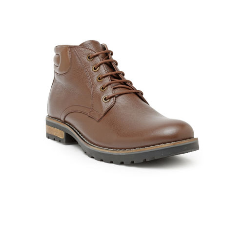 Teakwood Leathers Men Brown Solid Leather Mid-Top Flat Boots
