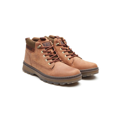 CAT Men Tan Brown Solid Leather Flat Boots