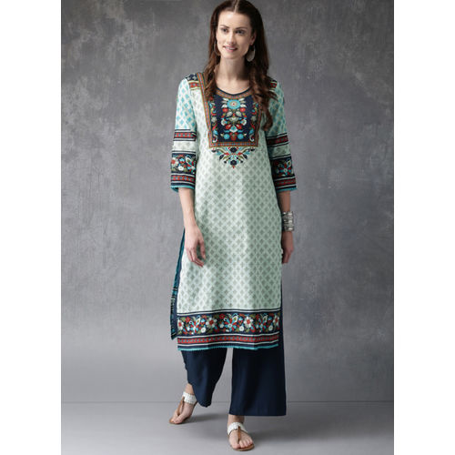 Anouk Women Blue Printed Kurta with Palazzos