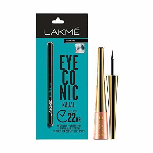Lakmé Lakme Eyeconic Kajal, Black, 0.35g with Lakme 9 to 5 Impact Eye Liner, Black, 3.5ml