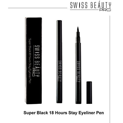 Swiss Beauty Pro Super Black 18 Hours Stay Eyeliner Pen ~ No Smudge Waterproof Non-transfer, 1.2g