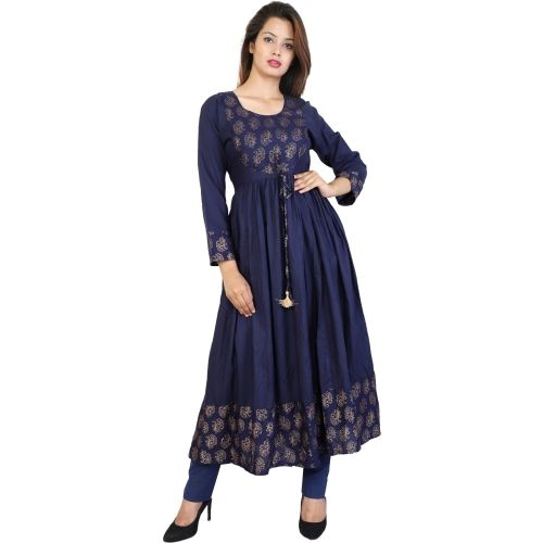 Metro Fashion Blue Cotton Block Print Anarkali Kurta