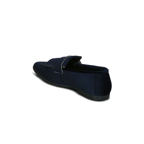 Kielz Men Navy Blue Solid Synthetic Suede Loafers
