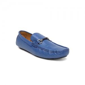 San Frissco Men Blue Textured Leather Loafers