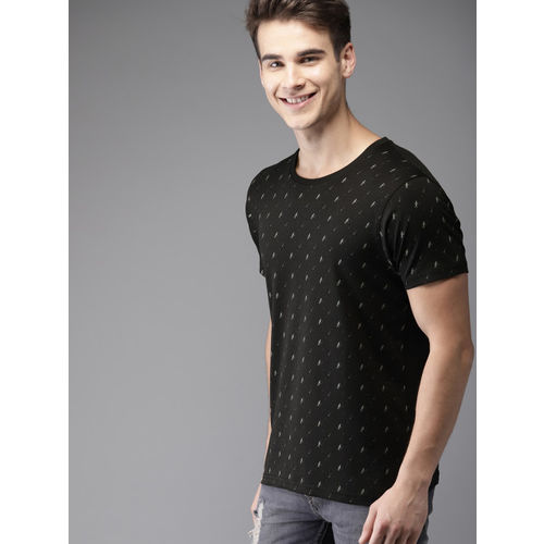 HERE&NOW Men Black Printed Round Neck T-shirt