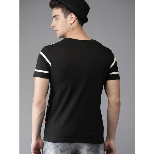 HERE&NOW Black Cotton Striped Round Neck T-shirt