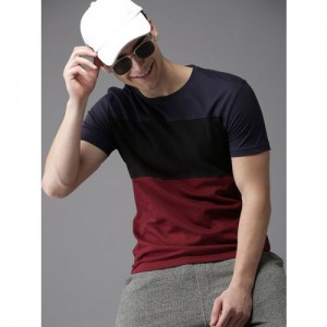HERE&NOW Maroon Solid Round Neck T-Shirt