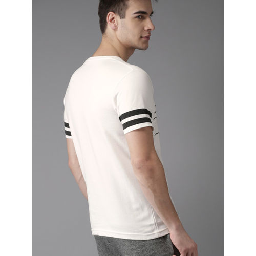 HERE&NOW Men White Printed Round Neck T-shirt
