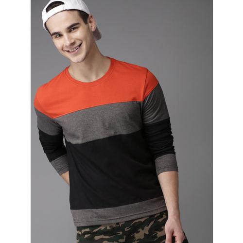 HERE&NOW Black & Orange Colourblocked Round Neck T-shirt