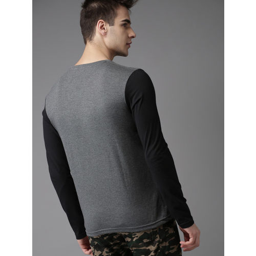 HERE&NOW Charcoal Grey Printed Round Neck T-shirt