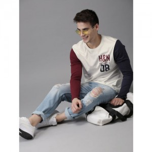 HERE&NOW Men White Solid Round Neck T-shirt