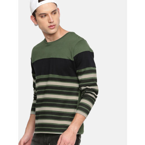 HERE&NOW Green Striped Round Neck T-shirt