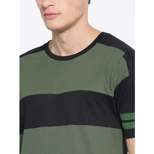 HERE&NOW Black & Olive Green Colourblocked Round Neck T-shirt