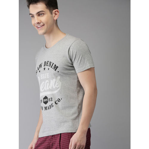 HERE&NOW Men Grey Melange Printed Round Neck T-shirt