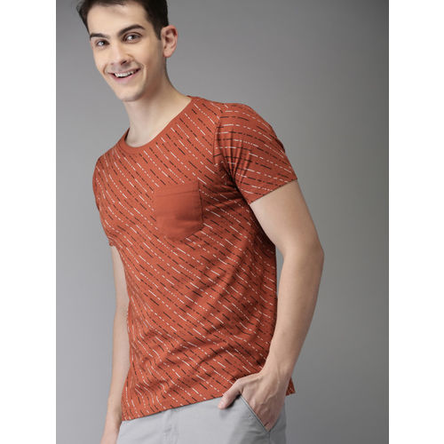 HERE&NOW Rust Brown Printed Round Neck T-shirt