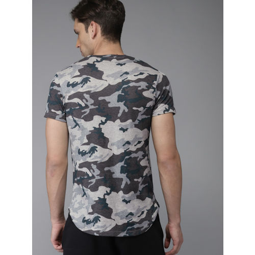 HERE&NOW Men Grey Printed Round Neck T-shirt