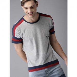 HERE&NOW Men Grey Melange T-shirt