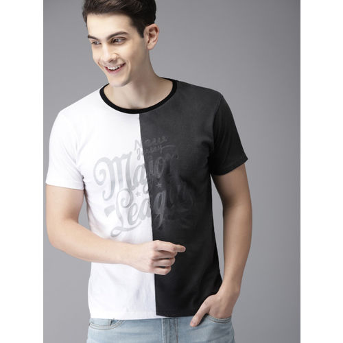 HERE&NOW White & Charcoal Grey Colourblocked Round Neck T-shirt