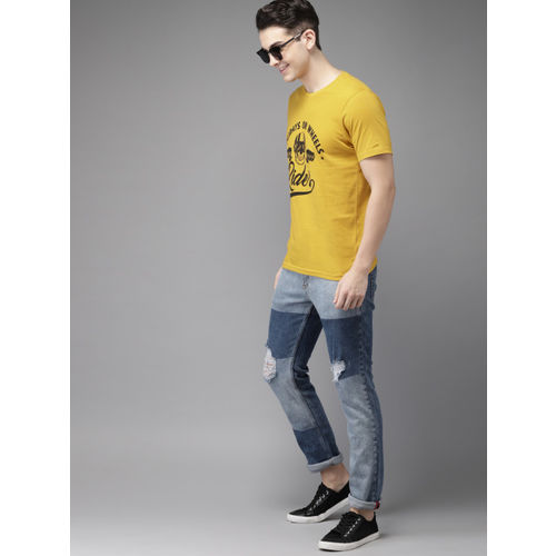 HERE&NOW Men Yellow Printed Round Neck T-shirt
