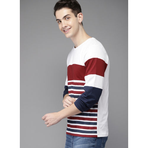 HERE&NOW White & Red Striped Round Neck T-Shirt