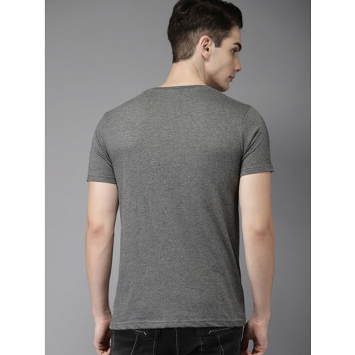 HERE&NOW Men Charcoal Grey Printed Round Neck T-shirt