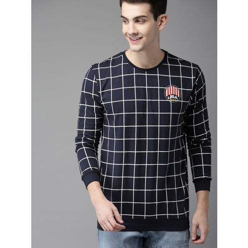 HERE&NOW Men Navy Blue Checked Round Neck T-shirt