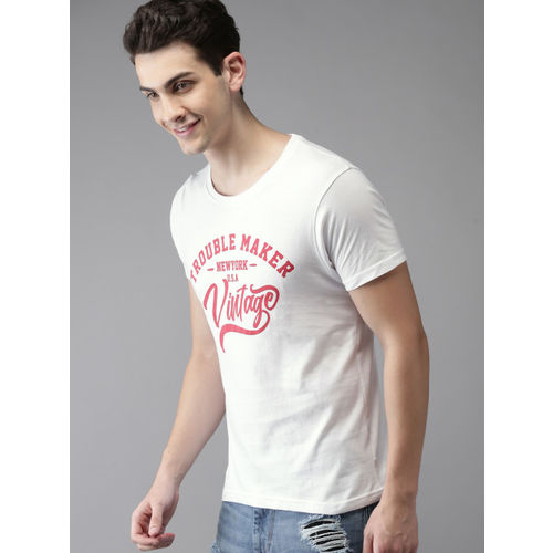 HERE&NOW White Printed Round Neck T-shirt