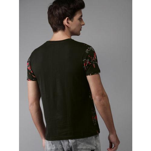 HERE&NOW Men Black Printed Round Neck T-shirt