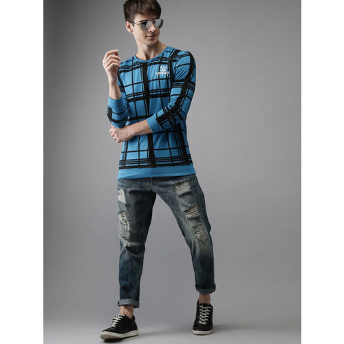 HERE&NOW Men Blue & Black Checked Round Neck T-shirt