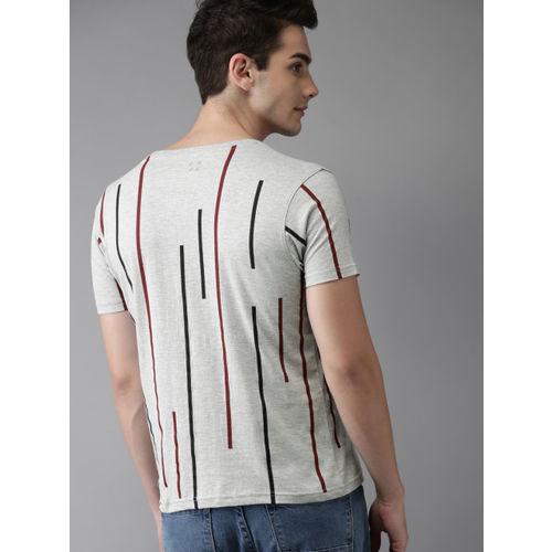 HERE&NOW Grey Melange Striped Round Neck T-shirt