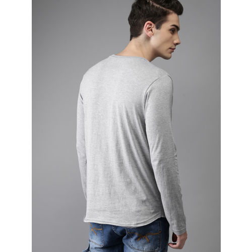 HERE&NOW Grey Melange Solid Round Neck T-shirt