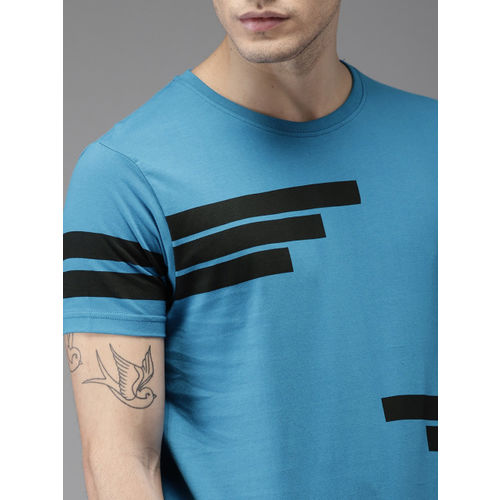 HERE&NOW Men Blue Printed Round Neck T-shirt