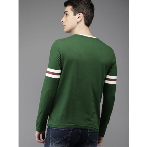 HERE&NOW Green Printed Round Neck T-shirt
