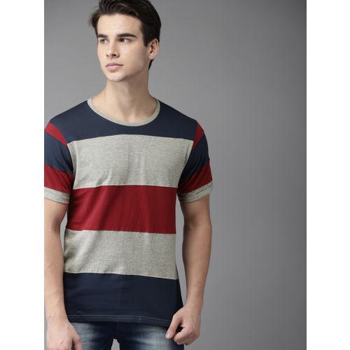 HERE&NOW Grey Melange & Maroon Colourblocked Round Neck T-Shirt