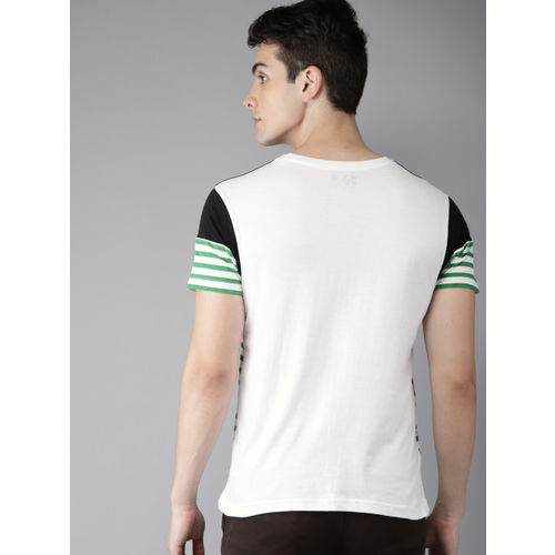 HERE&NOW White & Green Striped Round Neck T-shirt