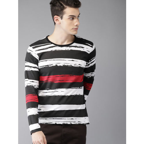 HERE& NOW Black & White Striped Round Neck T-shirt