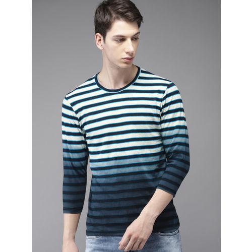 HERE&NOW Men Navy & Grey Melange Striped Round Neck T-shirt