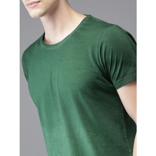 HERE&NOW Men Green Ombre-Dyed Round Neck T-shirt