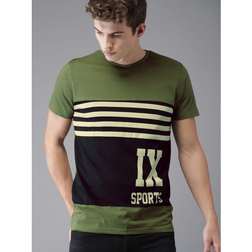 HERE&NOW Men Olive Green Colourblocked Round Neck T-shirt